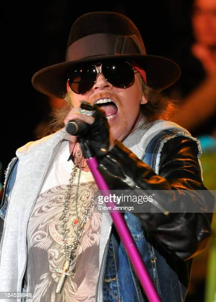Axl Rose of Guns N' Roses performs at the 26th Annual Bridge School Benefit at Shoreline Amphitheatre on October 20 2012 in Mountain View California