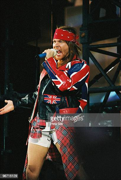Axl Rose of Guns n Roses performs on stage at The Freddie Mercury Tribute Concert at Wembley Stadium on April 20th 1992 in London United Kingdom