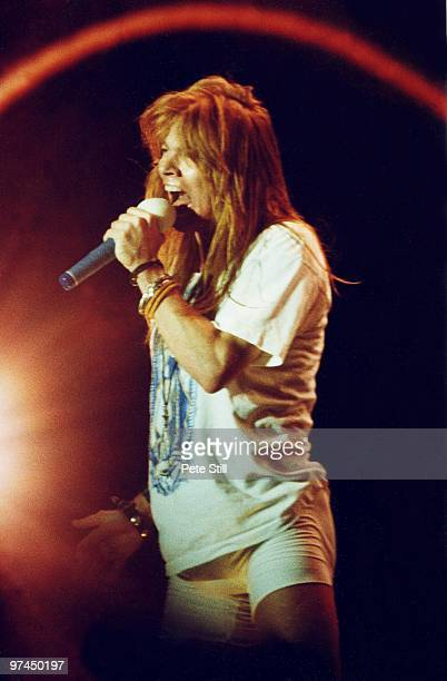 Axl Rose of Guns n' Roses performs on stage at Wembley Stadium on August 31st 1991 in London England