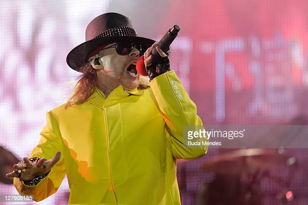 Axl Rose of Guns N' Roses performs on stage during a concert in the Rock in Rio Festival on October 02 2011 in Rio de Janeiro Brazil Rock in Rio...
