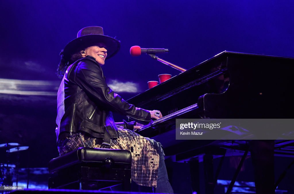 Axl Rose of Guns N' Roses performs onstage during the 'Not In This Lifetime...' Tour at Madison Square Garden on October 11, 2017 in New York City.