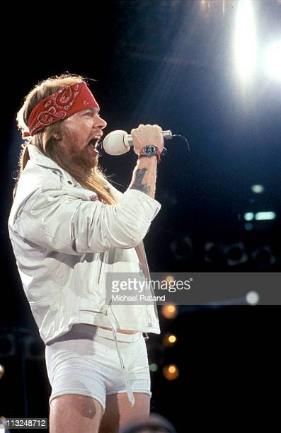 Axl Rose of Guns'n'Roses performs on stage at Freddie Mercury Tribute Concert Wembley Stadium London 20th April 1992