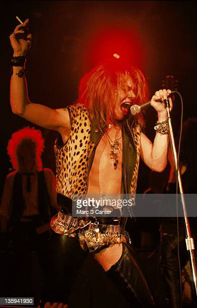 Axl Rose of the rock band 'Guns n' Roses' performs onstage at the Country Club on October 18 1985 in Reseda California