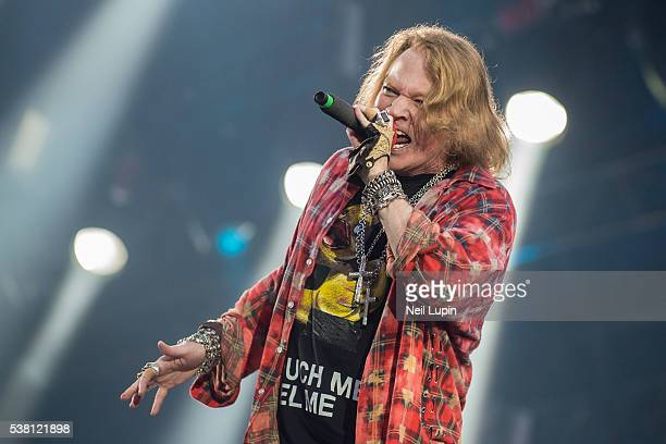 Axl Rose performs with AC/DC during the band's Rock Or Bust World Tour at the first ever concert at the Queen Elizabeth Olympic Stadium at Olympic...