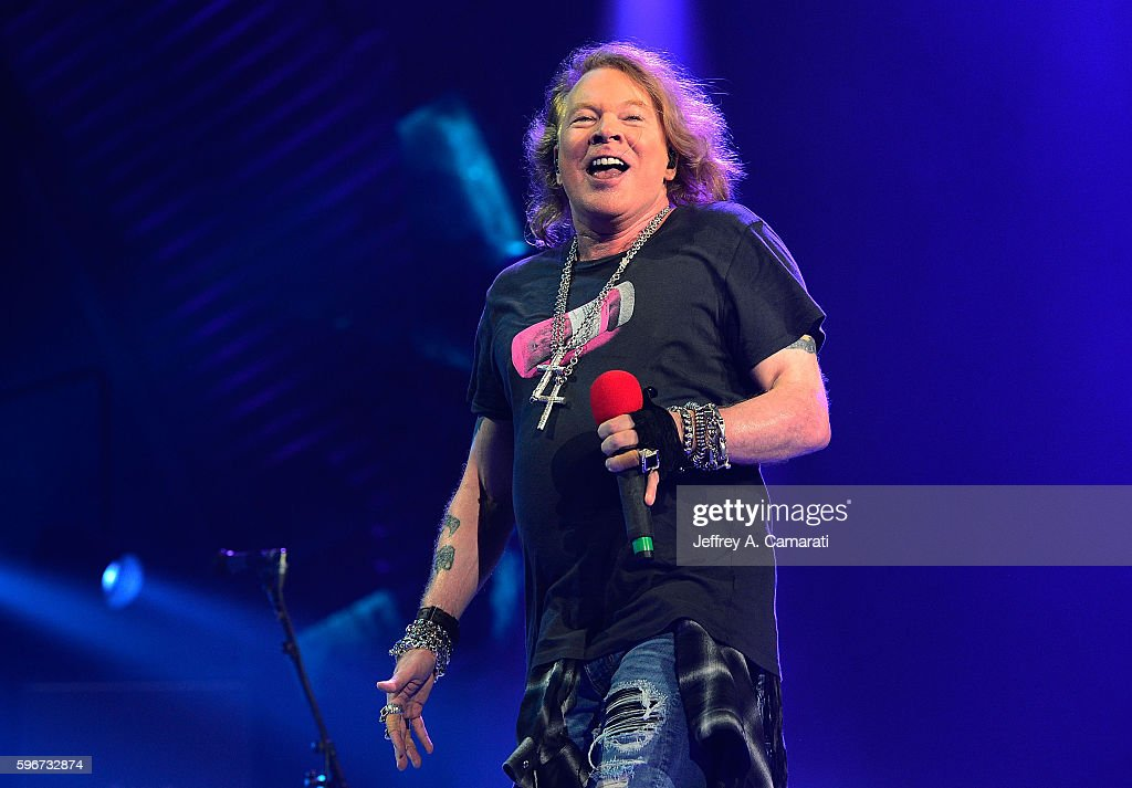 Axl Rose performs with AC/DC during the Rock Or Bust Tour at the Greensboro Coliseum on August 27, 2016 in Greensboro, North Carolina.