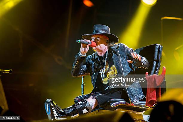 Axl Rose performs with AC/DC on the first concert of the Rock or Bust tour at the Passeio Maritimo De Alges on May 7 2016 in Lisbon Portugal