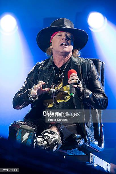 Axl Rose performs with AC/DC on the opening night of Rock or Bust Tour at the Passeio Maritimo De Alges on May 7 2016 in Lisbon Portugal