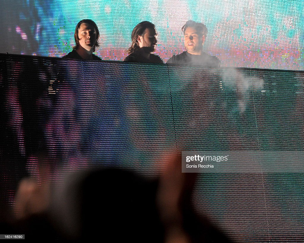Axwell, Steve Angello and Sebastian Ingrosso of Swedish House Mafia in concert at the Rogers Centre on February 22, 2013 in Toronto, Canada.