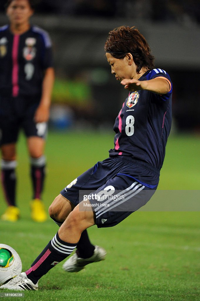 Ay Miyama #8 of Japan scores the first goal during the Women's international friendly match between Japan and Nigeria at Fukuda Denshi Arena on September 26, 2013 in Chiba, Japan.