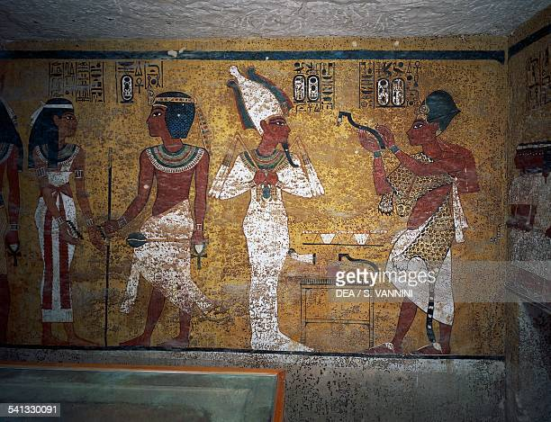 Ay performing the Opening of the Mouth ceremony Tomb of Tutankhamun Valley of the Kings Ancient Thebes Luxor Egypt XVIII Dynasty 13471338 BC