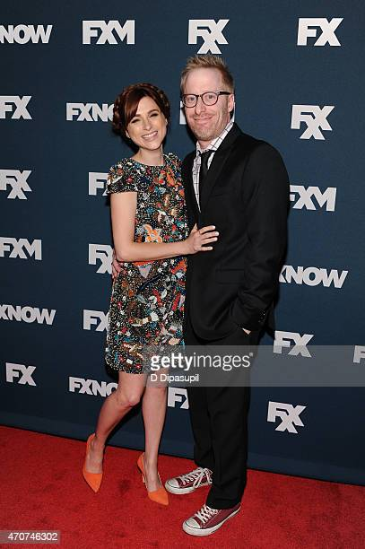 Aya Cash and Josh Alexander attend the 2015 FX Bowling Party at Lucky Strike on April 22 2015 in New York City