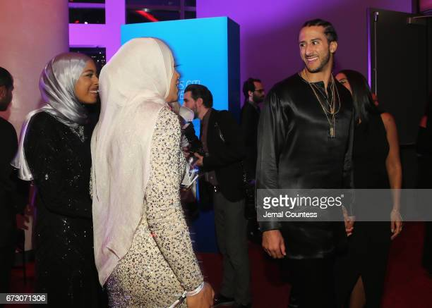 Aya Elsekhely Ibtihaj Muhammad and Colin Kaepernick attends the 2017 Time 100 Gala at Jazz at Lincoln Center on April 25 2017 in New York City