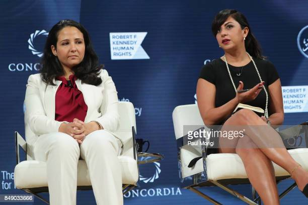 Aya Hijazi President Belady Island for Humanity and Dr Nancy Okail Executive Director The Tahrir Institute for Middle East Policy speak at The 2017...