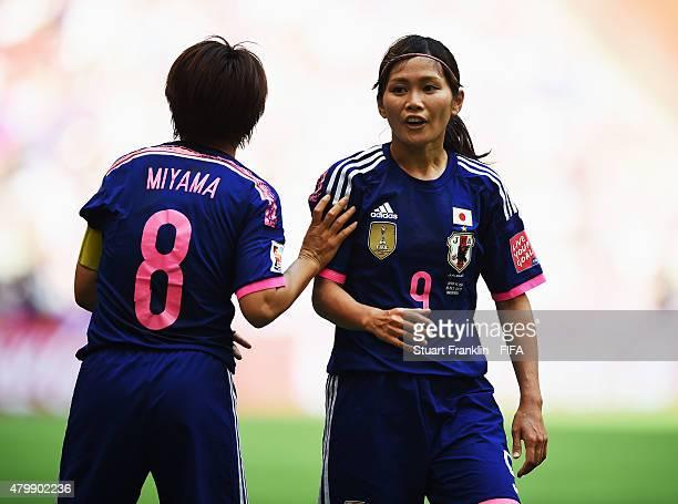 Aya Miyama and Nahomi Kawasumi of Japan during the FIFA Women's World Cup Final between USA and Japan at BC Place Stadium on July 5 2015 in Vancouver...