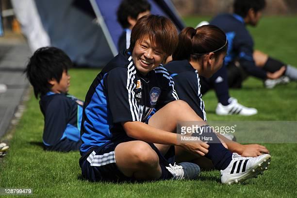 Aya Miyama looks on before the Nadeshiko League match between Okayama Yunogo Belle and INAC Kobe Leonessa at Mimasaka Rugby Soccer Stadium on October...