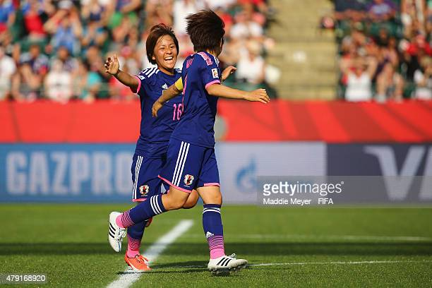 Aya Miyama of Japan and Mana Iwabuchi celebrate their teams second goal during the FIFA Women's World Cup Canada 2015 semi final match between...