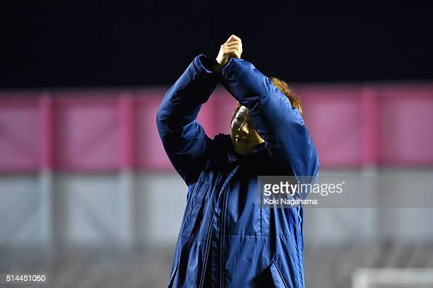 Aya Miyama of Japan applauds the supporters after the AFC Women's Olympic Final Qualification Round match between Japan and North Korea at Kincho...