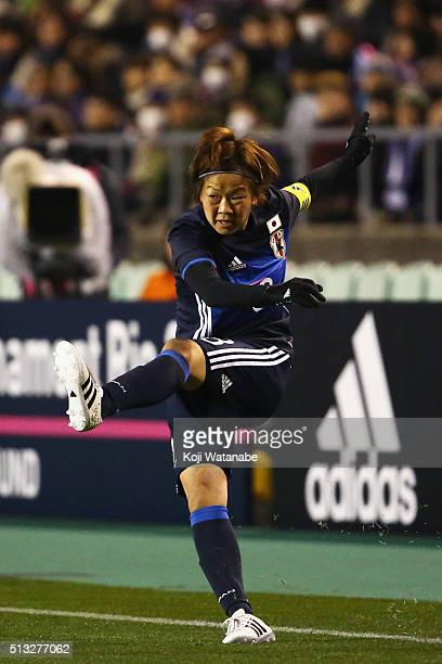 Aya Miyama of Japan in action during the AFC Women's Olympic Final Qualification Round match between Japan and South Korea at Kincho Stadium on March...