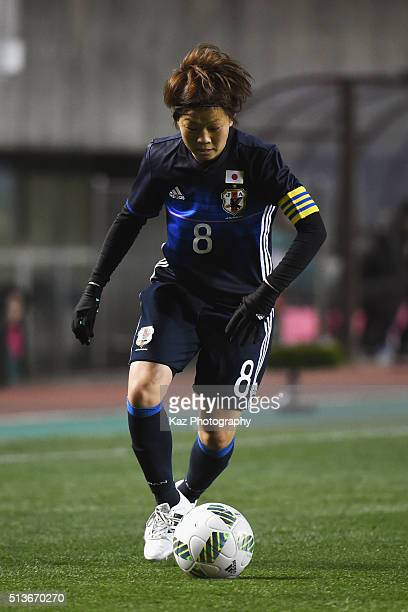 Aya Miyama of Japan in action during the AFC Women's Olympic Final Qualification Round match between Japan and China at Kincho Stadium on March 4...