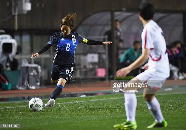 Aya Miyama of Japan in action during the AFC Women's Olympic Final Qualification Round match between Japan and North Korea at Kincho Stadium on March...