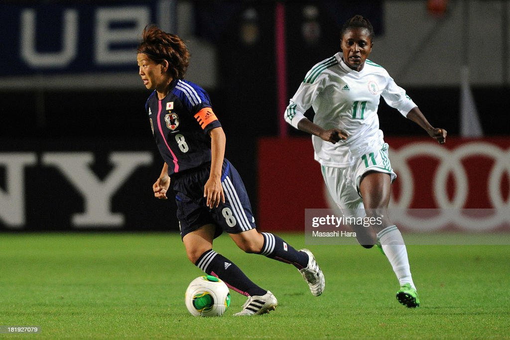 Aya Miyama #8 of Japan in action during the Women's international friendly match between Japan and Nigeria at Fukuda Denshi Arena on September 26, 2013 in Chiba, Japan.