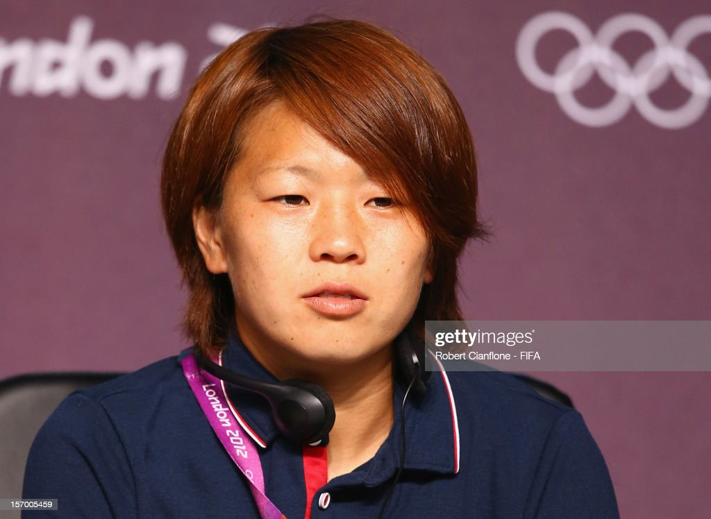 <a gi-track='captionPersonalityLinkClicked' href=/galleries/search?phrase=Aya+Miyama&family=editorial&specificpeople=2524493 ng-click='$event.stopPropagation()'>Aya Miyama</a> of Japan is seen during the Women's Football Final press conference at the Main Press Centre as part of the London 2012 Olympic Games on August 8, 2012 in Newcastle upon Tyne, England.