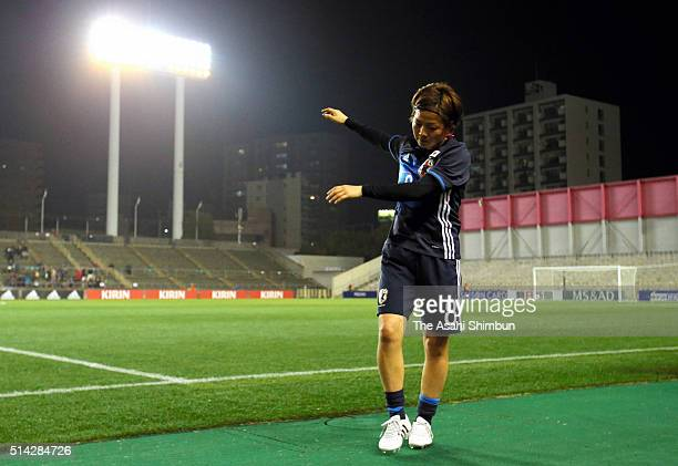 Aya Miyama of Japan leaves the pitch after the AFC Women's Olympic Final Qualification Round match between Vietnam and Japan at Kincho Stadium on...