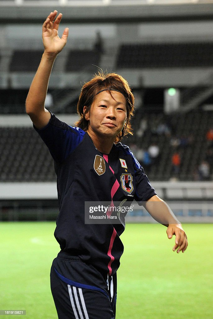 <a gi-track='captionPersonalityLinkClicked' href=/galleries/search?phrase=Aya+Miyama&family=editorial&specificpeople=2524493 ng-click='$event.stopPropagation()'>Aya Miyama</a> #8 of Japan looks on after the Women's international friendly match between Japan and Nigeria at Fukuda Denshi Arena on September 26, 2013 in Chiba, Japan.