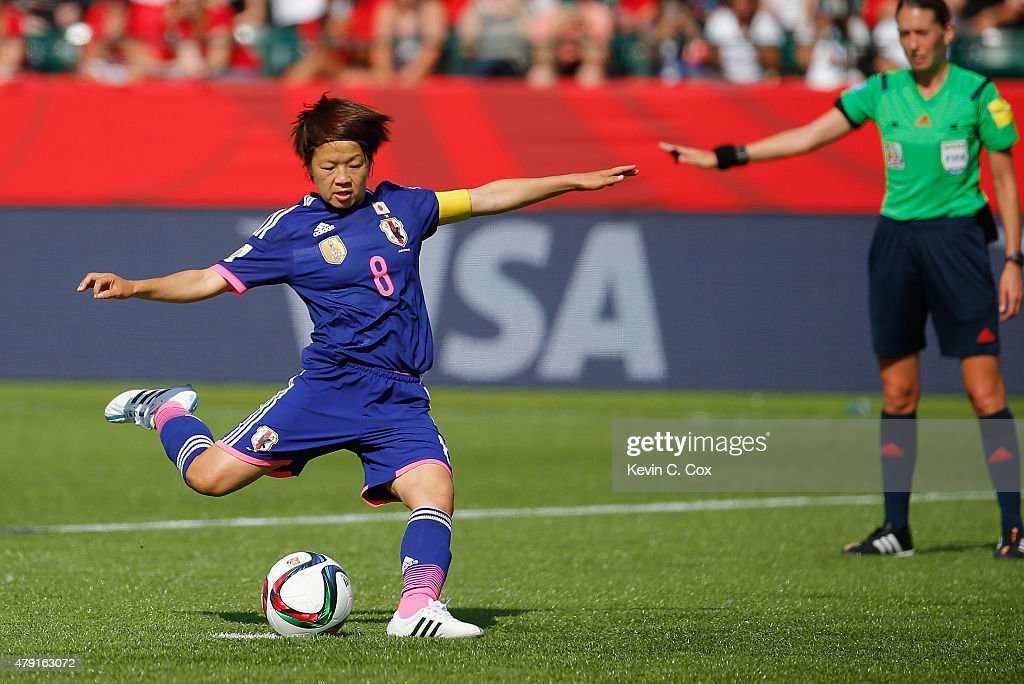 Aya Miyama of Japan scores a penalty to make it 1-0 during the FIFA Women's World Cup Semi Final match between Japan and England at the Commonwealth Stadium on July 1, 2015 in Edmonton, Canada.
