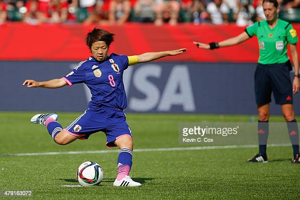 Aya Miyama of Japan scores a penalty to make it 10 during the FIFA Women's World Cup Semi Final match between Japan and England at the Commonwealth...