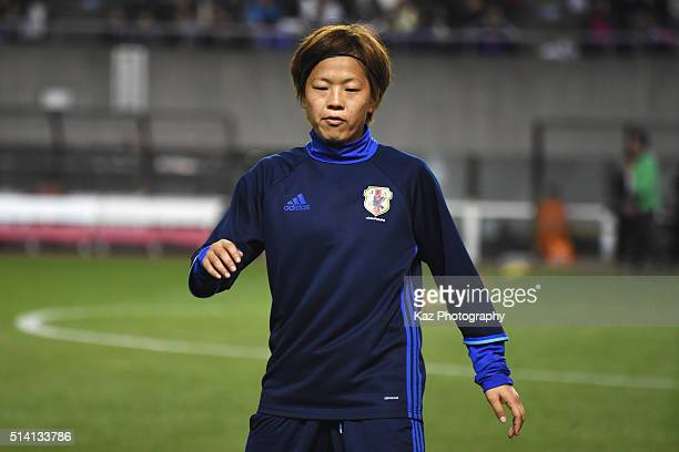 Aya Miyama of Japan warms up prior to the AFC Women's Olympic Final Qualification Round match between Vietnam and Japan at Kincho Stadium on March 7...