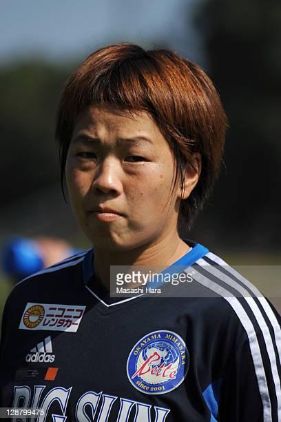 Aya Miyama of Okayama Yunogo Belle looks on during the Nadeshiko League match between Okayama Yunogo Belle and INAC Kobe Leonessa at Mimasaka Rugby...
