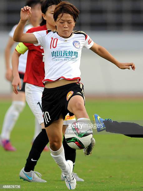 Aya Miyama of Yunogo Belle in action during the Nadeshiko League match between Urawa Red Diamonds Ladies and Okayama Yunogo Belle at Komaba Stadium...