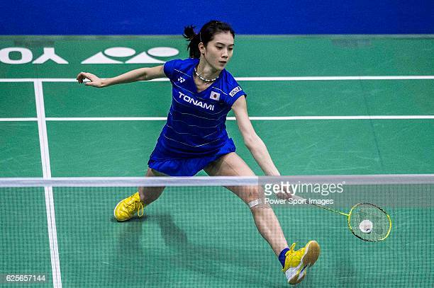 Aya Ohori of Japan competes against Linda Zetchiri of Bulgaria in their Women's Singles Round 2 match during the YONEXSUNRISE Hong Kong Open...