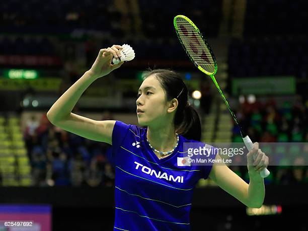 Aya Ohori of Japan in action against Linda Zetchiri of Bulgaria in Women's Single during YonexSunrise Hong Kong Open Badminton Championships 2016...