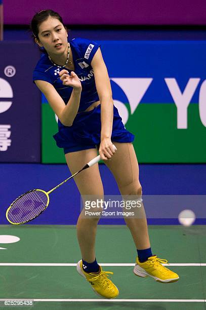 Aya Ohori of Japan in action while playing against Chia Hsin Lee of Chinese Taipei during the 2016 Hong Kong Open Badminton Championships at the Hong...