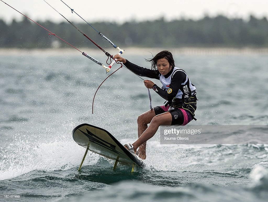 Aya Oshima of Japan in action on the race competition during day four of the 1st KTA Bintan at Argo Beach Resort on February 24, 2013 in Bintan Island, Indonesia.