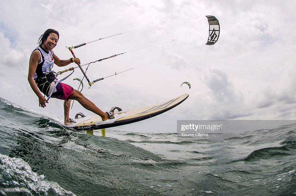 Aya Oshima of Japan warms up prior to day one of the 1st KTA Bintan at Argo Beach Resort on February 21, 2013 in Bintan Island, Indonesia.