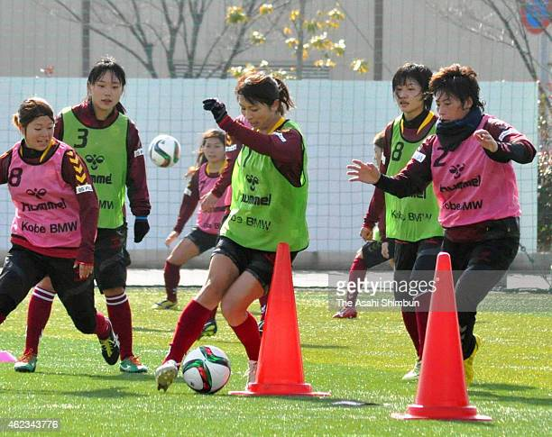 Aya Sameshima of INAC Kobe Leonessa in action during a training session on January 27 2015 in Kobe Hyogo Japan