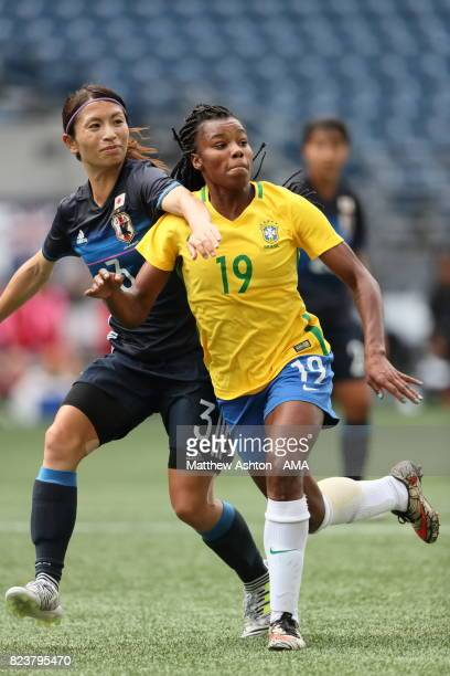 Aya Sameshima of Japan and Ludmila of Brazil during the 2017 Tournament Of Nations match between Japan and Brazil at CenturyLink Field on July 27...