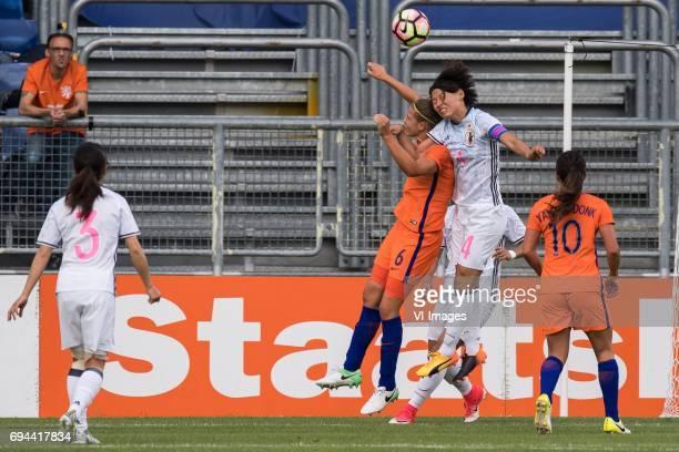 Aya Sameshima of Japan Anouk Dekker of the Netherlands Saki Kumagai of Japan Danielle van de Donk of the Netherlandsduring the friendly match between...