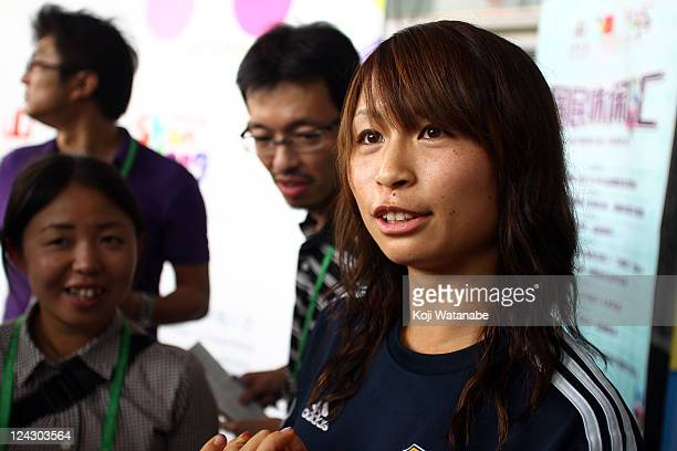 Aya Sameshima of Japan attends a press conference after securing a berth for the London 2012 Olympics at a convention center on September 9 2011 in...
