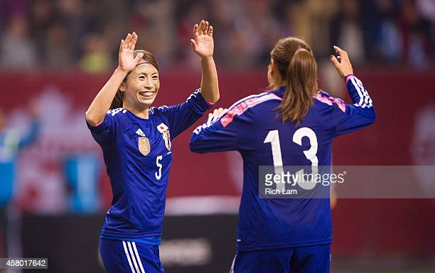 Aya Sameshima of Japan celebrates with Rumi Utsugi after scoring in extra time to defeat Canada 32 in Women's International Soccer Friendly Series...