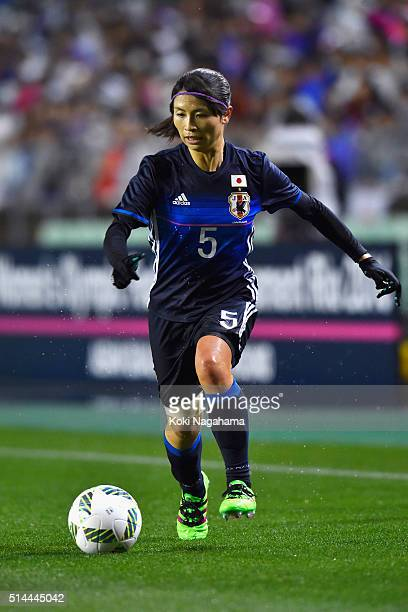 Aya Sameshima of Japan in action during the AFC Women's Olympic Final Qualification Round match between Japan and North Korea at Kincho Stadium on...