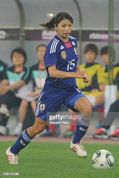 Aya Sameshima of Japan in action during the London Olympic Women's Football Asian Qualifier match between South Korea and Japan at Jinan Olympic...