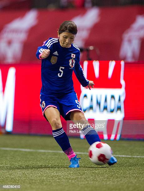 Aya Sameshima of Japan kicks the ball during Women's International Soccer Friendly Series action against Canada on October 28 2014 at BC Place...