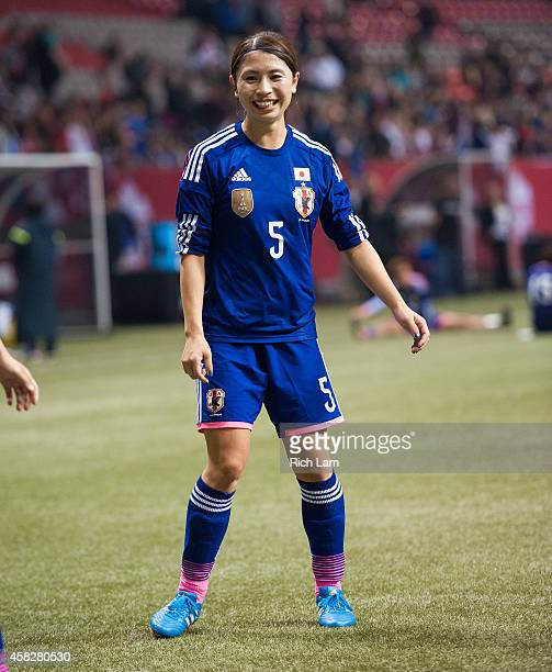 Aya Sameshima of Japan shares a laugh while cooling down after Women's International Soccer Friendly Series action against Canada on October 28 2014...