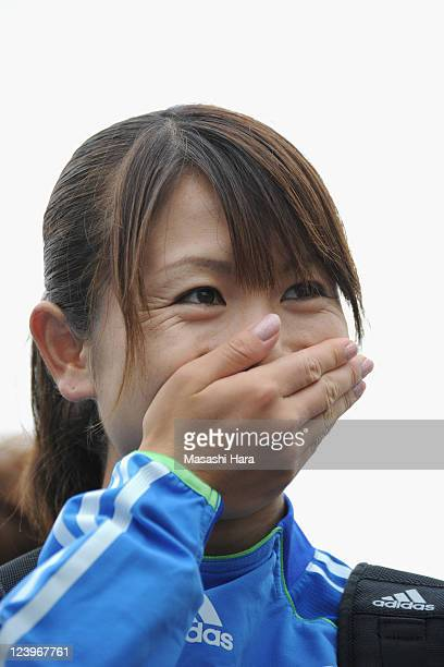 Aya Sameshima of Japan smiles after a training session at Jinan Olympic Sport Center Training Ground on September 7 2011 in Jinan China