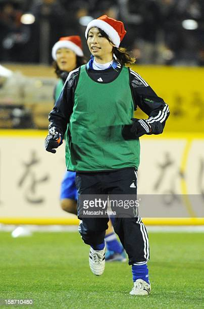 Aya Sameshima warms up prior to the Great East Japan Earthquake charity match 'SAWA and Friends X'mas Night 2012' at the National Stadium on December...