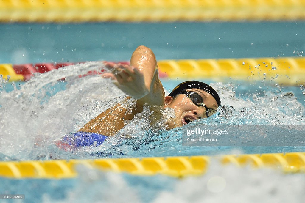 Aya Takano of Japan competes in the Women's 200m Freestyle semi finals during the Japan Swim 2016 at Tokyo Tatsumi International Swimming Pool on April 5, 2016 in Tokyo, Japan.